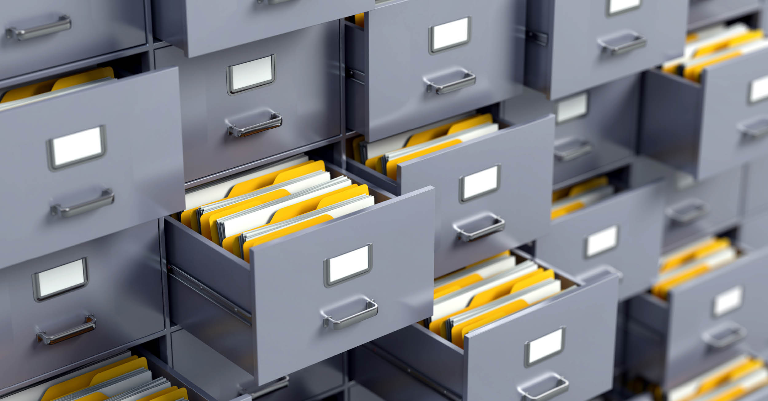 Several filing cabinets open and closed with documents showing